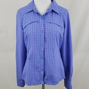 Columbia Blue Pink Plaid Omni Shade Button Up Med